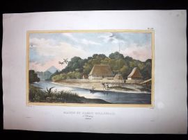 d'Urville 1835 Folio Hand Col Print. Houses at Likupang, Indonesia Eas Indies
